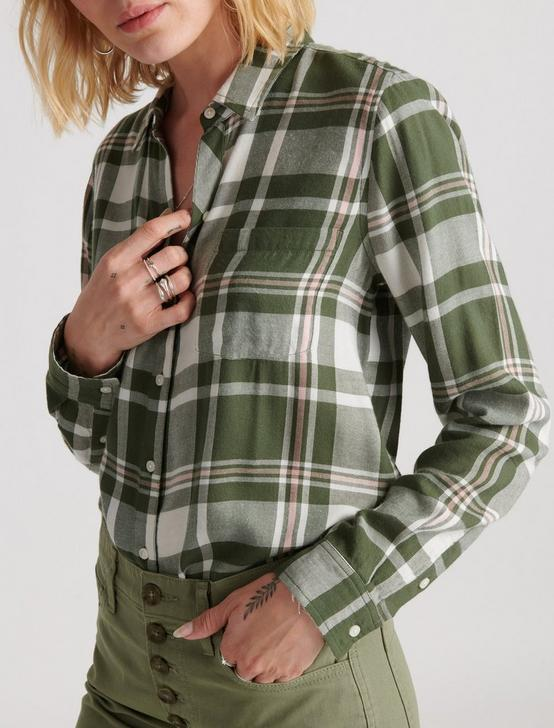 CLASSIC ONE POCKET PLAID SHIRT, OLIVE MULTI, productTileDesktop