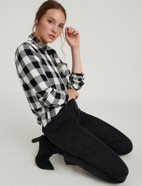 CLASSIC ONE POCKET PLAID SHIRT, BLACK MULTI