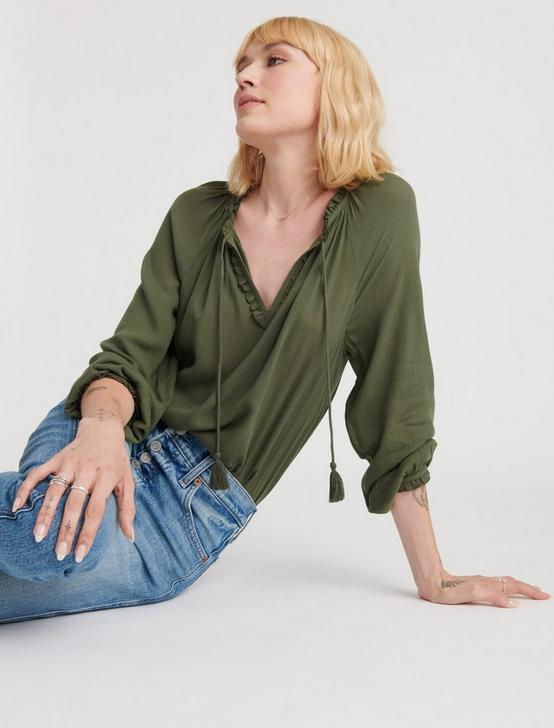 GISELLE RUFFLE PEASANT TOP, THYME, productTileDesktop