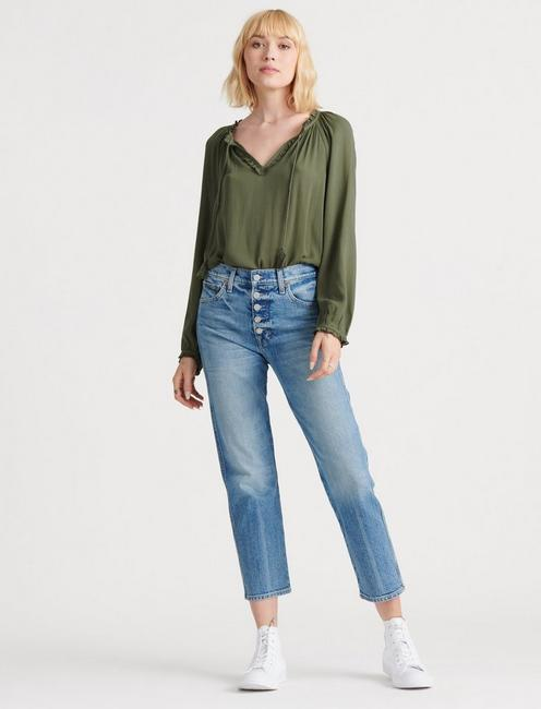 GISELLE RUFFLE PEASANT TOP, THYME