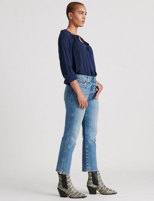 GISELLE RUFFLE PEASANT TOP, AMERICAN NAVY