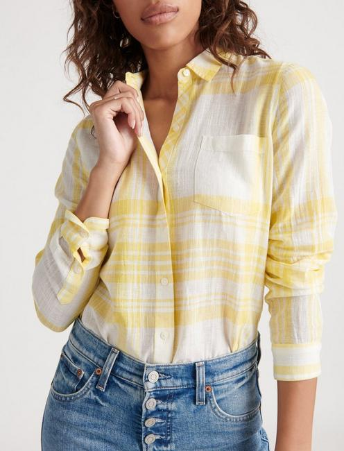 CLASSIC ONE POCKET PLAID SHIRT, YELLOW MULTI
