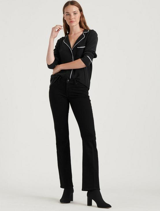 MAGGIE SILK PAJAMA TOP, 001 LUCKY BLACK, productTileDesktop