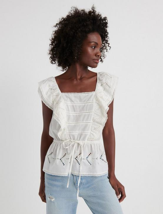 EYELET RUFFLE TOP, MARSHMALLOW, productTileDesktop