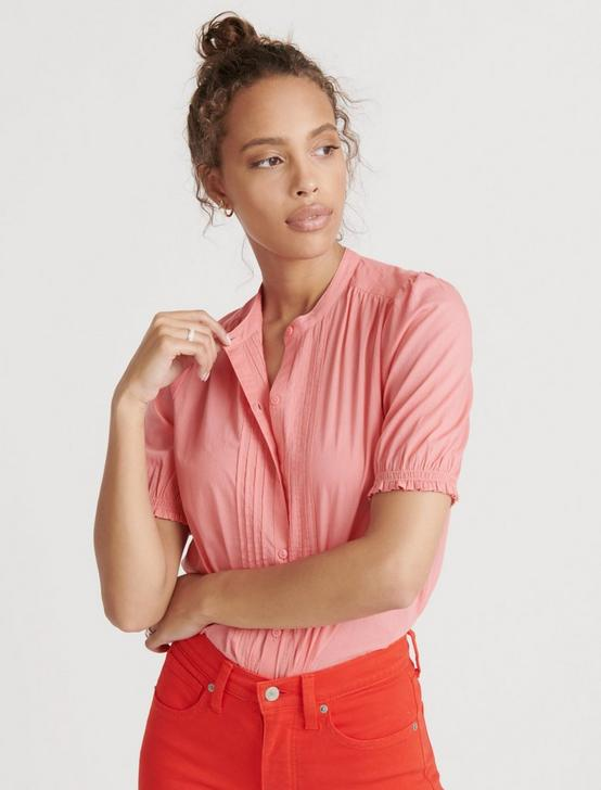 DAKOTA RUFFLE SLEEVE TOP, TEA ROSE, productTileDesktop