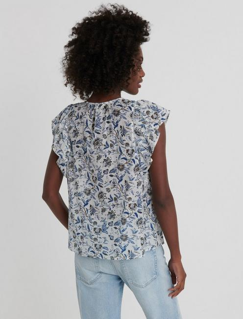 PRINTED FLUTTER SLEEVE TOP, NATURAL MULTI