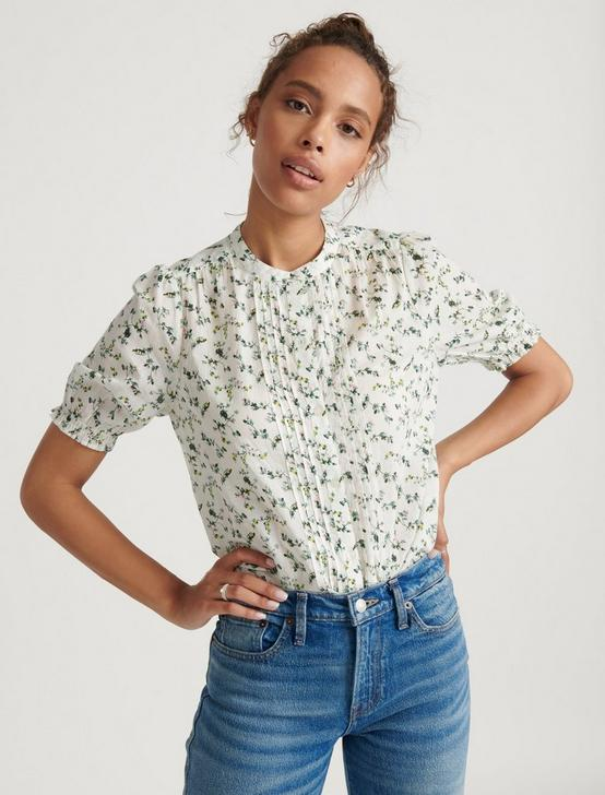 DAKOTA RUFFLE SLEEVE TOP, NATURAL MULTI, productTileDesktop