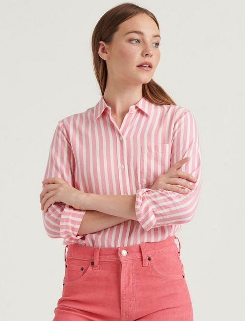 CLASSIC ONE POCKET STRIPE SHIRT, PINK MULTI