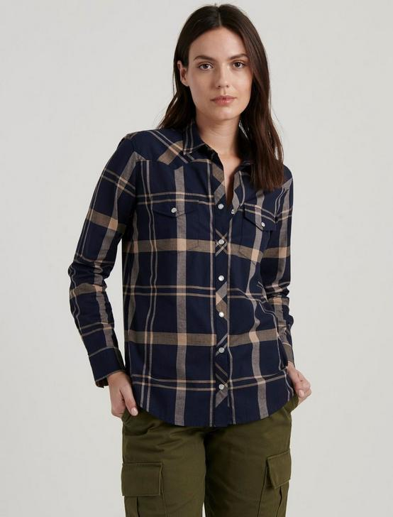 WESTERN PLAID SHIRT, NAVY MULTI, productTileDesktop