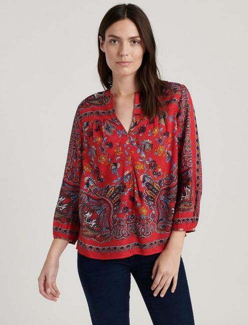 RAMI PEASANT TOP, RED MULTI