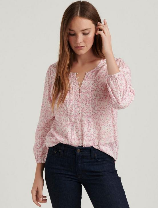 AIDA PINTUCK BLOUSE, PINK MULTI, productTileDesktop