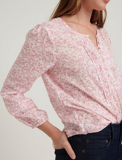 AIDA PINTUCK BLOUSE, PINK MULTI
