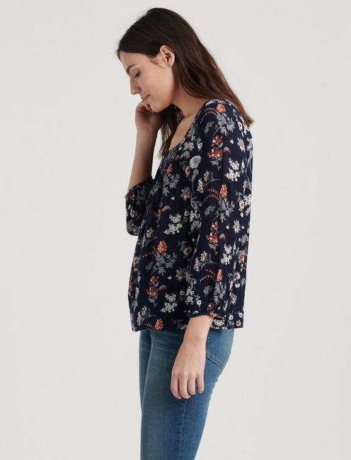 SQUARE NECK BLOUSE, NAVY MULTI