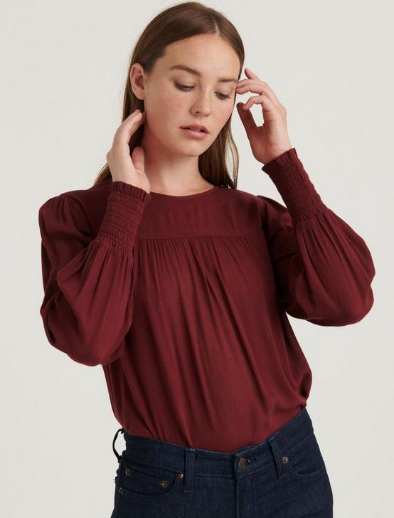 SMOCKED CUFF TOP, TAWNY PORT, productTileDesktop