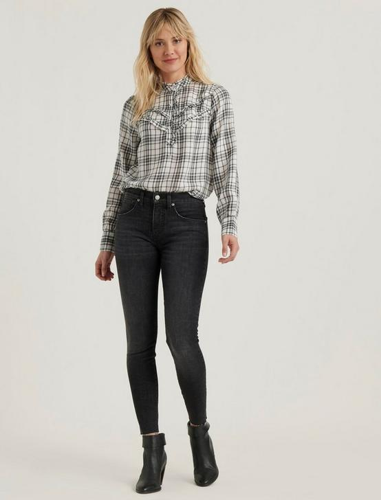 ELSA PLAID POPOVER TOP, GREY MULTI, productTileDesktop