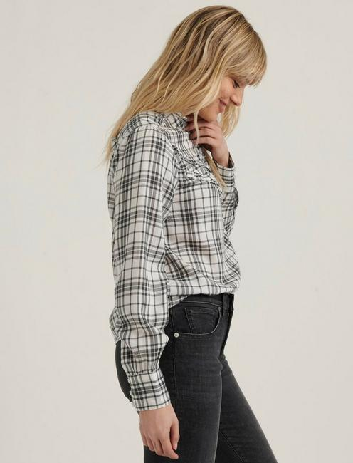 ELSA PLAID POPOVER TOP, GREY MULTI