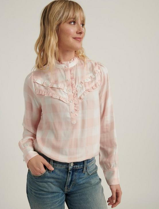 ELSA PLAID POPOVER TOP, PINK MULTI, productTileDesktop
