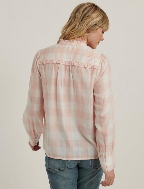 ELSA PLAID POPOVER TOP, PINK MULTI