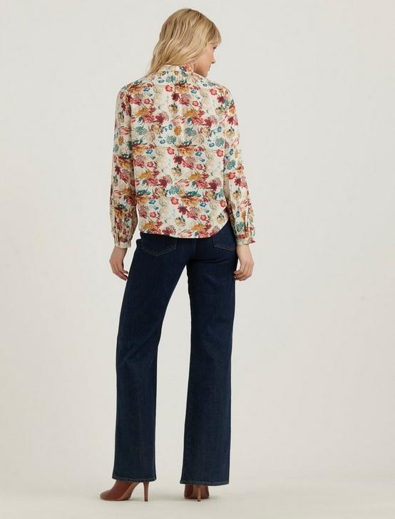 AVA TIE NECK BLOUSE, NATURAL MULTI, productTileDesktop