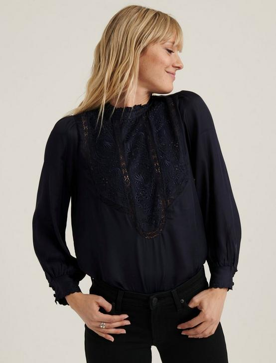 FLORENCE EMBROIDERED TOP, AMERICAN NAVY, productTileDesktop