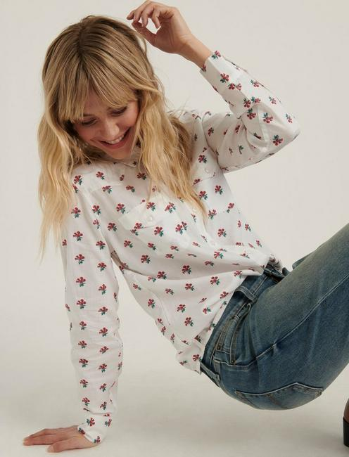 FLORAL WESTERN SHIRT, RED MULTI