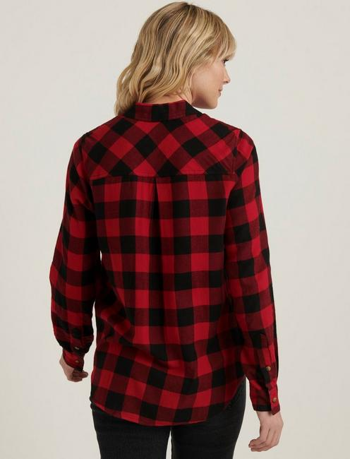 CLASSIC ONE POCKET PLAID SHIRT, RED MULTI