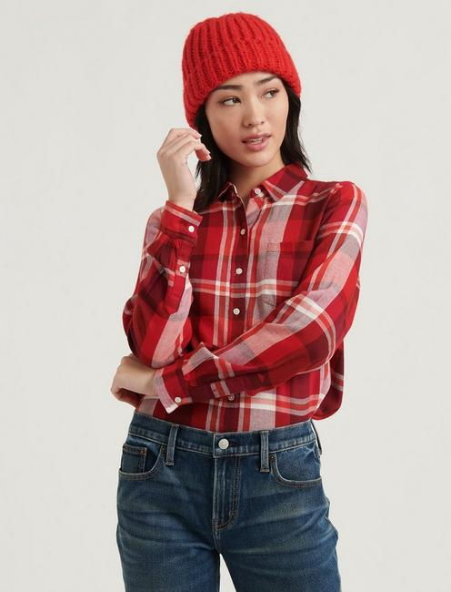 CLASSIC ONE POCKET PLAID SHIRT, ORANGE MULTI