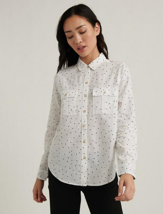 LAURA PRINTED UTILITY SHIRT, NATURAL MULTI, productTileDesktop