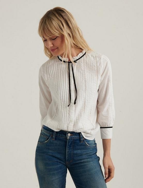 QUINN PINTUCK BLOUSE, LUCKY WHITE, productTileDesktop