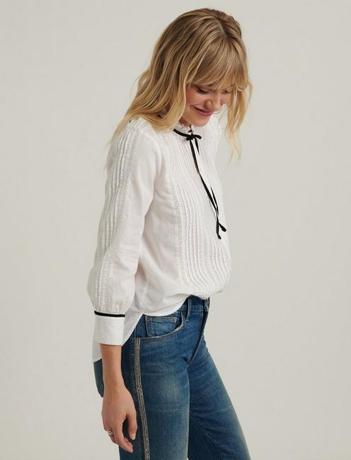 QUINN PINTUCK BLOUSE, LUCKY WHITE