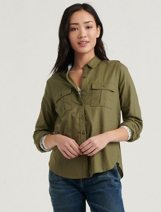 LAURA UTILITY SHIRT, BURNT OLIVE, productTileDesktop