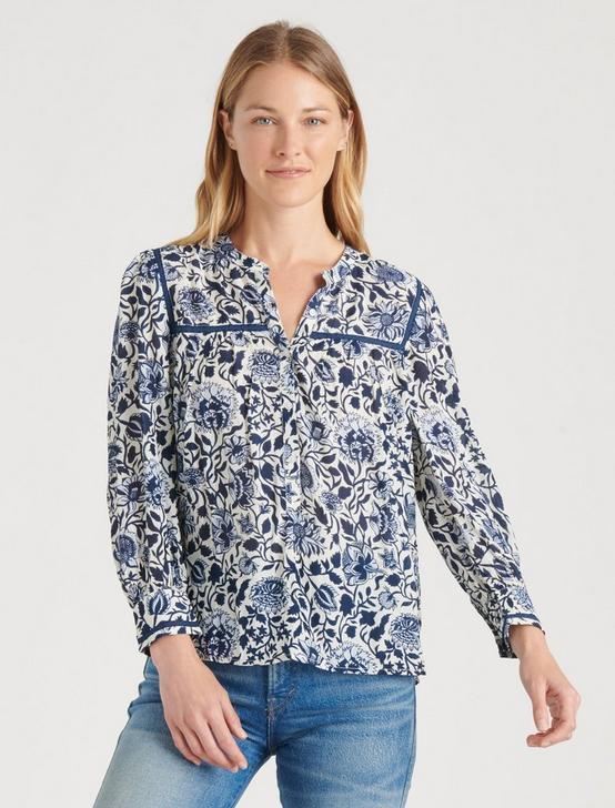 SOPHIE POPOVER TOP, BLUE MULTI, productTileDesktop
