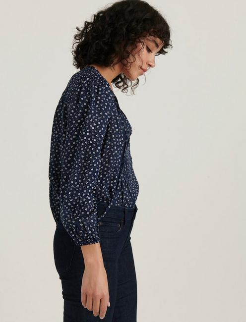 PLEATED POPOVER TOP, NAVY MULTI