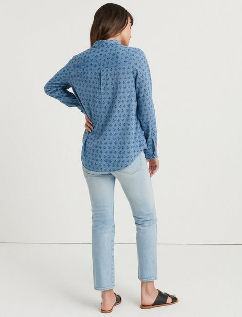 STAMP PRINT SHIRT, BLUE MULTI