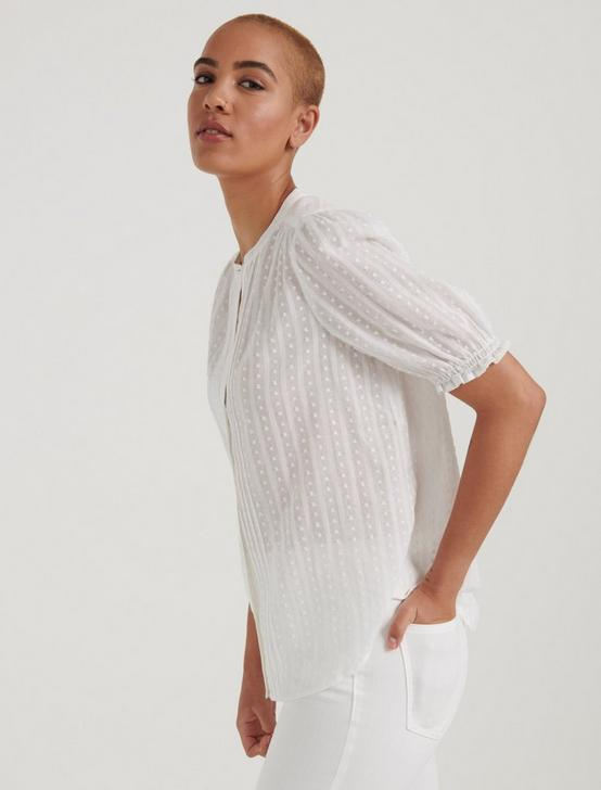 DAKOTA RUFFLE SLEEVE SHIRT, LUCKY WHITE, productTileDesktop
