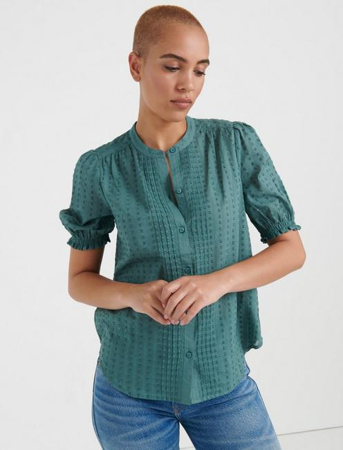 DAKOTA RUFFLE SLEEVE SHIRT, NORTH ATLANTIC