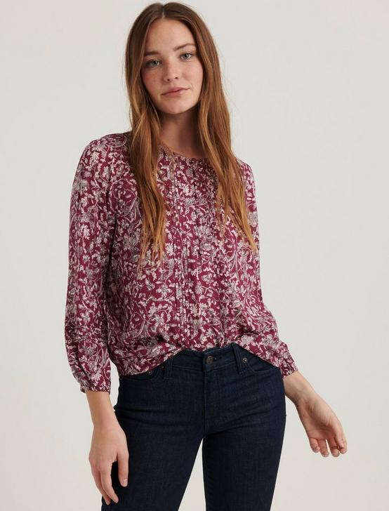 AIDA PINTUCK BLOUSE, BURGUNDY MULTI, productTileDesktop