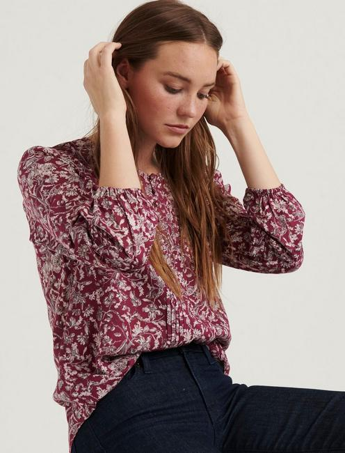 AIDA PINTUCK BLOUSE, BURGUNDY MULTI