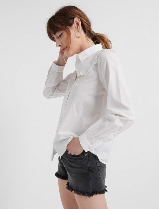 RUFFLE YOKE SHIRT, LUCKY WHITE, productTileDesktop