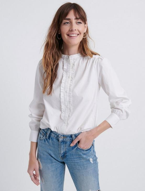RUFFLE PLACKET SHIRT, LUCKY WHITE, productTileDesktop