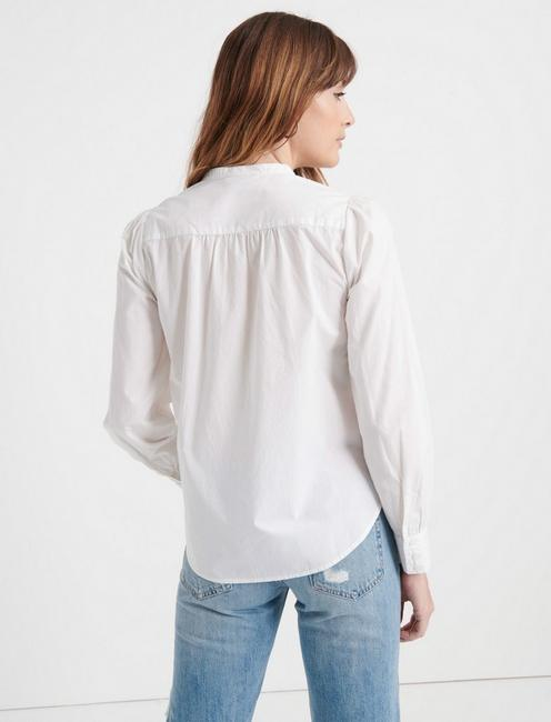 RUFFLE PLACKET SHIRT, LUCKY WHITE