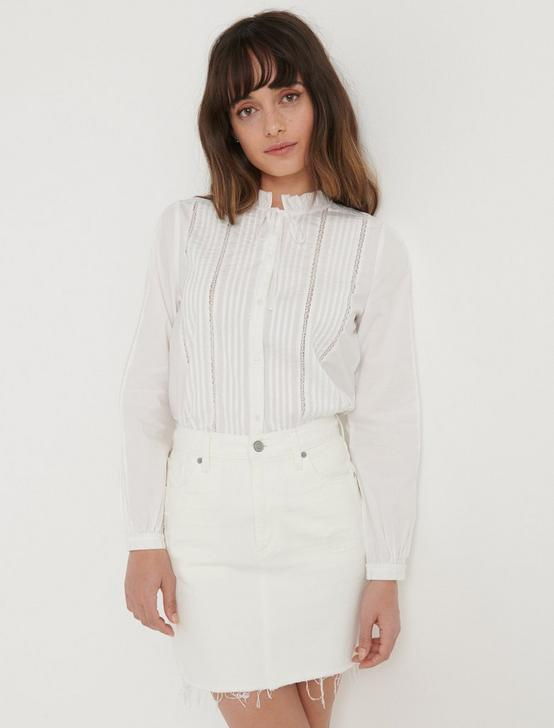 PINTUCK RUFFLE COLLAR SHIRT, LUCKY WHITE, productTileDesktop