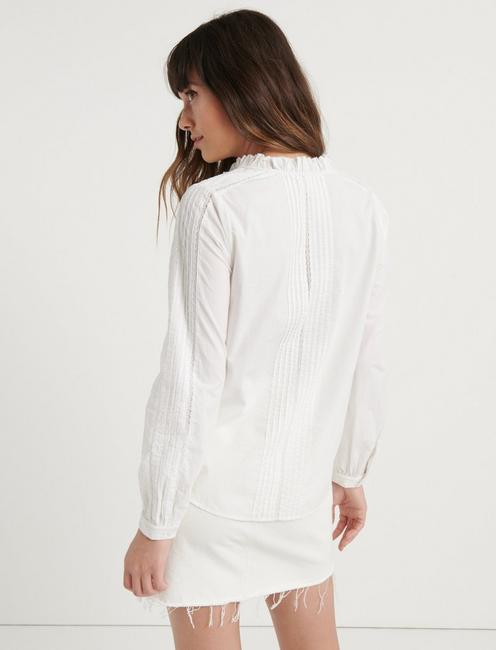 PINTUCK RUFFLE COLLAR SHIRT, LUCKY WHITE