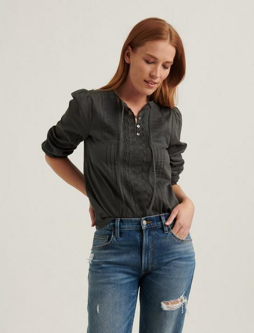 LILY EMBROIDERED POPOVER, DARK SHADOW