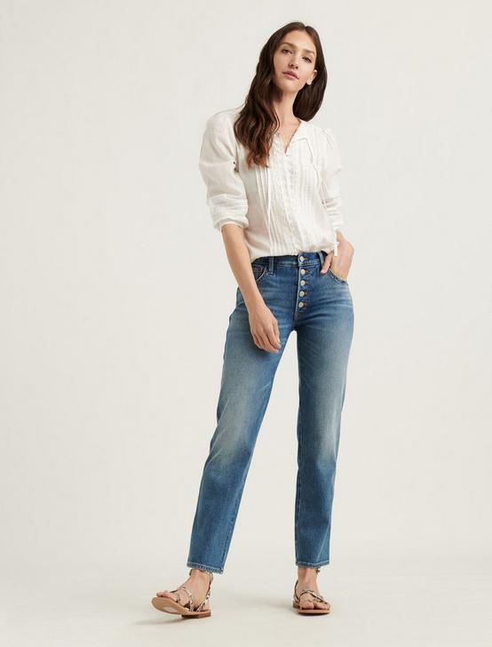 LILY EMBROIDERED POPOVER TOP, LUCKY WHITE, productTileDesktop