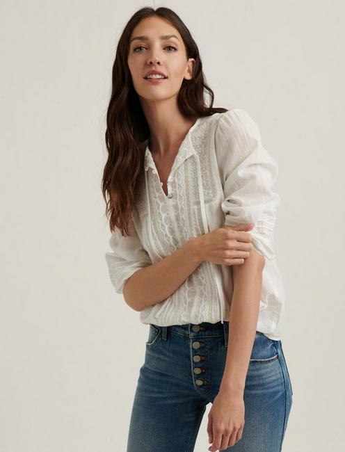 LILY EMBROIDERED POPOVER TOP,