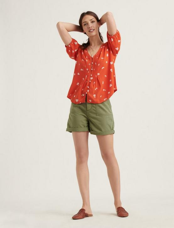 SHORT SLEEVE PINTUCK TOP, RED MULTI, productTileDesktop
