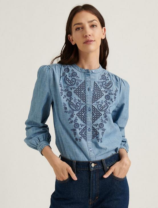 EYELET POET TOP, LIGHT WASH, productTileDesktop