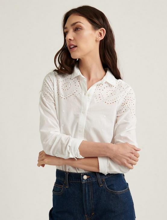 EYELET YOKE CLASSIC SHIRT, LUCKY WHITE, productTileDesktop
