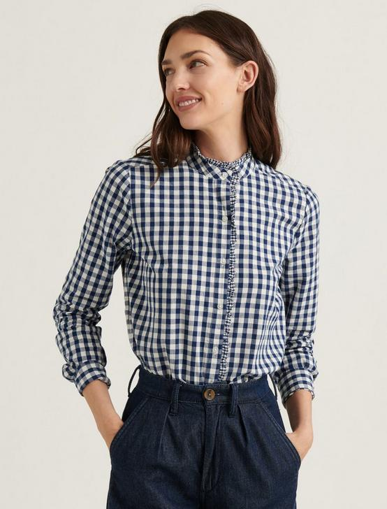 CLASSIC RUFFLE SHIRT, NAVY MULTI, productTileDesktop
